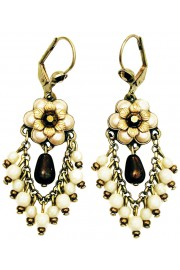 Michal Negrin Pearl Bronze Fan Earrings