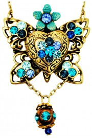 Michal Negrin Blue Turquoise Butterfly Locket Necklace