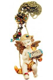 Michal Negrin Music Cherub Figurine Necklace