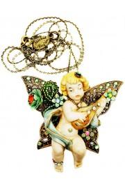Michal Negrin Butterfly Cherub Figurine Necklace