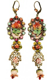 Michal Negrin Multicolor Filigree Rose Earrings