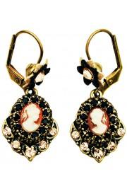 Michal Negrin Black Peach Woman Cameo Earrings