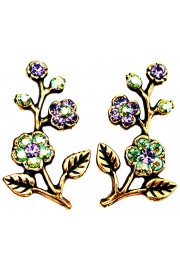 Michal Negrin Purple Green Cherry Blossom Stud Earrings