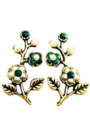 Michal Negrin Pearl Green Cherry Blossom Stud Earrings