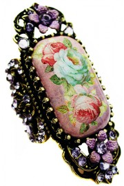 Michal Negrin Purple Victorian Cameo Ring