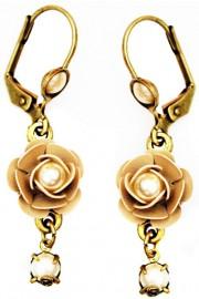 Michal Negrin Cream Pearl Crystal Rose Earrings
