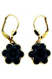 Michal Negrin Black Crystal Flower Earrings