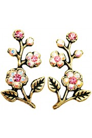 Michal Negrin Aurora Borealis Pink Cherry Blossom Stud Earrings