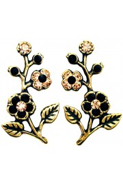 Michal Negrin Black Gold Cherry Blossom Stud Earrings