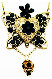 Michal Negrin Black Butterfly Locket Necklace