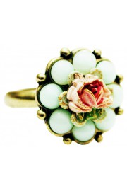 Michal Negrin Light Green Beads Flower Ring