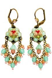 Michal Negrin Vintage Style Roses Fan Earrings