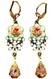 Michal Negrin Vintage Roses Teardrop Earrings