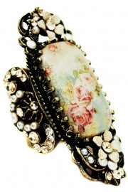Michal Negrin Pearl Roses Cameo Ring