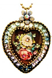 Michal Negrin Victorian Roses Crystal Heart Necklace