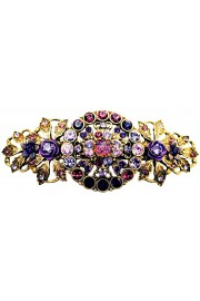 Michal Negrin Antique Purple Crystal Flowers Hair Clip