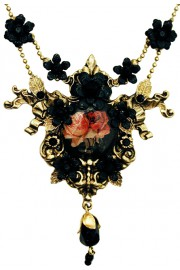 Michal Negrin Black Roses Cameo Necklace