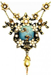 Michal Negrin Flying Cupids Cameo Necklace
