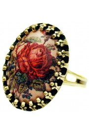 Michal Negrin Red Rose Small Cabochon Cameo Ring