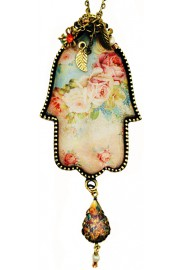 Michal Negrin Baroque Roses Hamsa Necklace