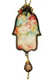 Michal Negrin Baroque Roses Hamsa Necklace