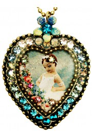 Michal Negrin Ballerina Crystal Heart Necklace