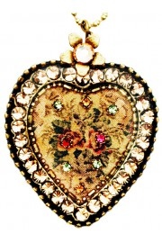 Michal Negrin Antique Roses Gold Crystal Heart Necklace