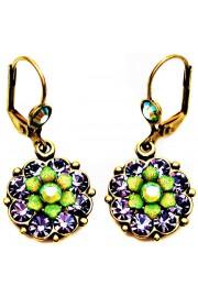 Michal Negrin Purple Green Crystals Flower Earrings
