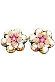 Michal Negrin Pink Aurora Borealis Crystal Flower Stud Earrings