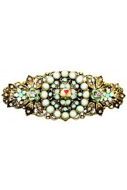 Michal Negrin Antique Pink Mint Green Crystal Flowers Hair Clip