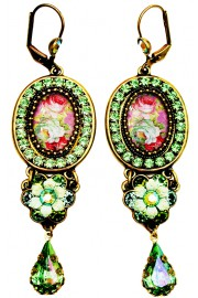 Michal Negrin Green Roses Cameo Drop Earrings