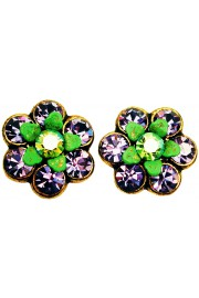 Michal Negrin Purple Green Crystal Flower Stud Earrings
