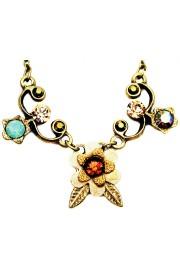 Michal Negrin Cream Bronze Sea Green Flower Necklace