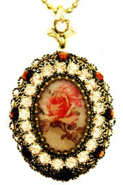 Michal Negrin Antique Roses Cameo Locket Necklace