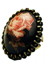 Michal Negrin Gothic Rose Black Crystals Ring