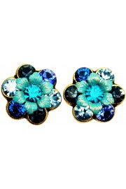 Michal Negrin Blue Turquoise Aqua Crystal Flower Stud Earrings