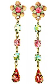 Michal Negrin Pink Green Post Earrings