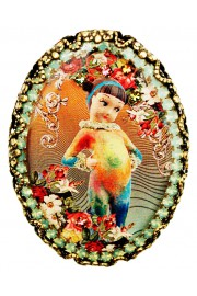 Michal Negrin Rainbow Girl Cameo Brooch