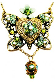 Michal Negrin Green Butterfly Locket Necklace