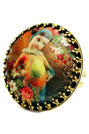 Michal Negrin Rainbow Girl Round Cameo Ring