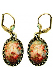 Michal Negrin Vintage Roses Cabochon Cameo Earrings