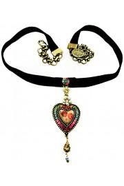 Michal Negrin Multicolor Roses Heart Velvet Choker
