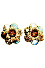 Michal Negrin Bronze Sea Green Crystal Flower Stud Earrings