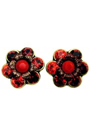 Michal Negrin Red Tones Crystal Flower Stud Earrings