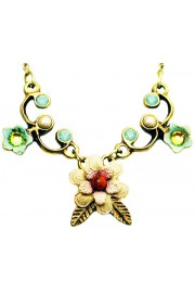 Michal Negrin Coral Sea Green Pearl Flower Necklace