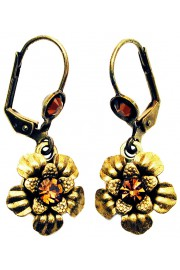 Michal Negrin Bronze Gold Crystals Flower Earrings