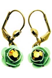 Michal Negrin Bronze Green Rose Earrings