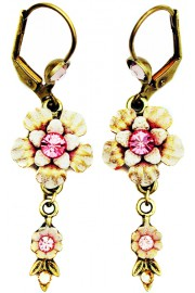 Michal Negrin Pink Vintage Flower Crystal Earrings