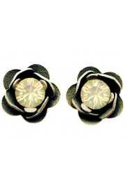 Michal Negrin Icy Grey Rose Stud Earrings