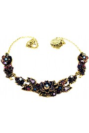 Michal Negrin Blue Purple New York Roses Necklace